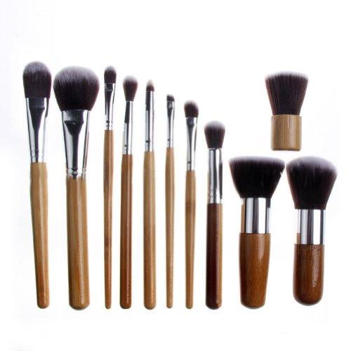 Davidsonne Professionnel Fond de Teint Poudre Blush cosmétiques Set de pinceaux à maquillage tube en bois (purge)