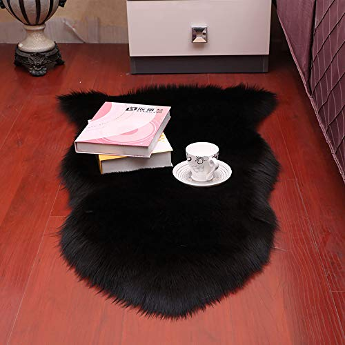 Faux Fur Sheepskin Rug,Fluffy Chair Seat Cover Floor Mat Carpet Area Rugs for Living Room - 2 ft x 3 ft, Black