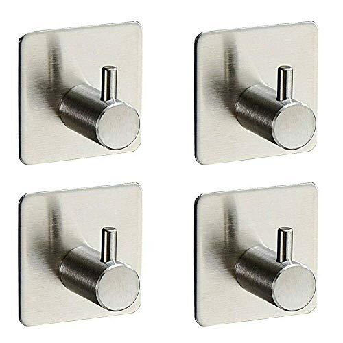 NewbieBoom Conjunto de 4 ganci da parete migliorati, ganci appiccicosi Altamente adesivi, ganci per asciugamani da bagno in Acciaio inossidabile 304 cappotti bagno, WC