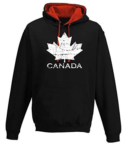 Shirt Happenz Kanada Vintage Ahornblatt Canada CAN Maple Leaf Premium Varsity Hoodie Pulli Kontrasthoodie Kapuzenpullover, Größe:M, Farbe:Schwarz Rot JH003