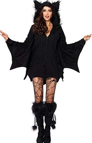 Generico Costume da Carnevale Halloween Pipistrello Travestimento Vestito Cosplay Festa, per Bambina e Adulto (Altezza 120-135cm) CP1179-S