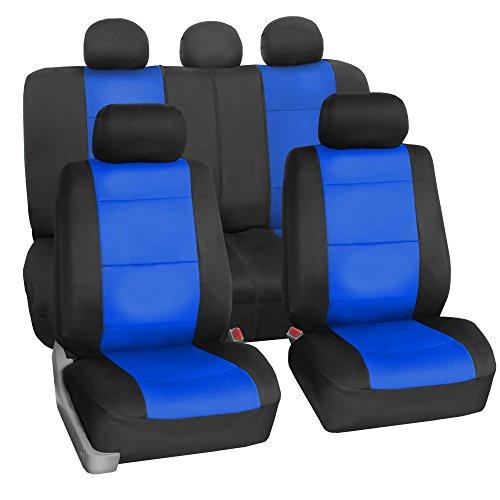 FH Group FH-FB083115 Neoprene Waterproof Car Seat Covers Airbag Ready & Rear Split Blue- Fit Most Car, Truck, SUV, or Van