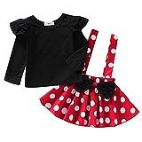 Mädchen Disney Minnie Maus Polka Dot Prinzessin Kleid Karneval Cosplay Mittelalter Kurzarm Bowknot Tutu Costume Hochzeit Brautjungfer Taufe Kleider für 1-4 Jahre Rot Schwarz 110