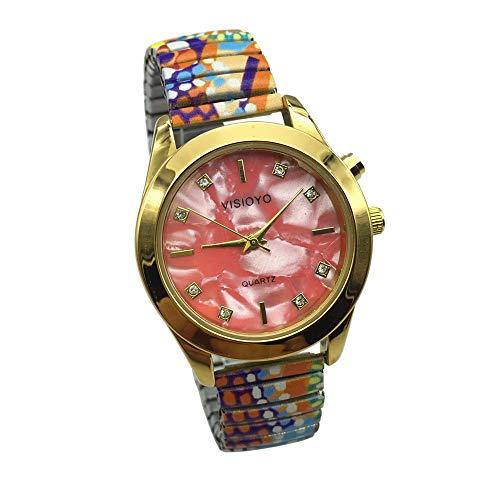 Reloj parlante para mujer, analógico, con alarma, anuncio de hora y fecha, en francés, color dorado, TAG-1305F