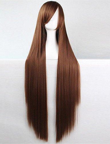 jiayy cheveux bruns Europe et les Etats-Unis la nouvelle perruque de couleur de 100 cm de soie de haute température Long foncé, 34 Inch