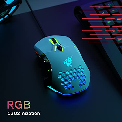 Redgear A-15 Wired Gaming Mouse with RGB, Semi-Honeycomb Design and Upto 6400 dpi for Windows PC Gamers(White)