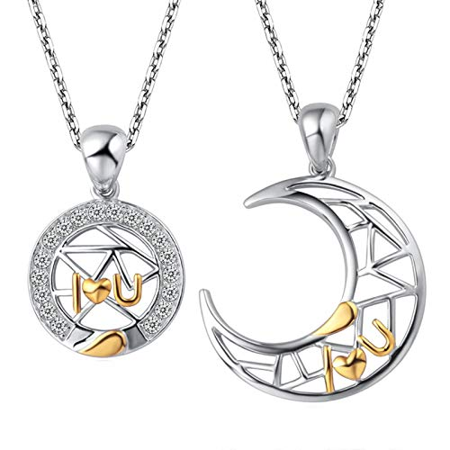 Daesar Collar Unisex,Collar Sol y Luna Redondo Circonita Blanca Collar Plata de Ley 925 Unisex Plata Oro