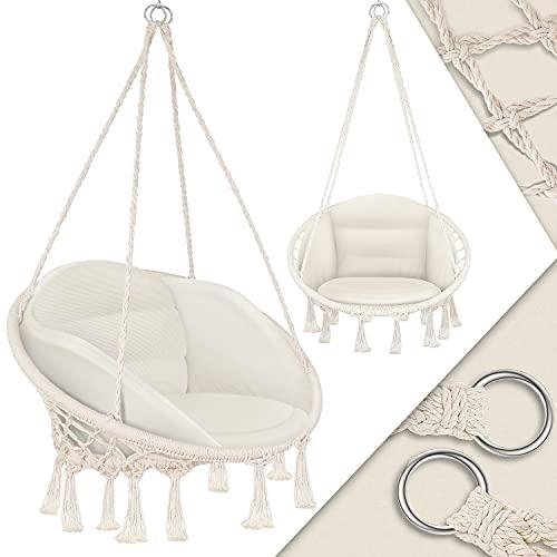 KESSER® Hängesessel mit Kissen - Hängestuhl zum Aufhängen für Erwachsene & Kinder Hängematte bis 150 kg Hängesitz Aufhängung Indoor & Outdoor Wohn & Garten Terrasse