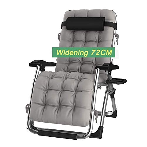 Folding Sun Lounger Comfortable Extra Wide Zero-Gravity Recliner Terrace Foldable Adjustable Recliner with Cushions Support 440lbs Zero Gravity Chairs for Family Lounge
