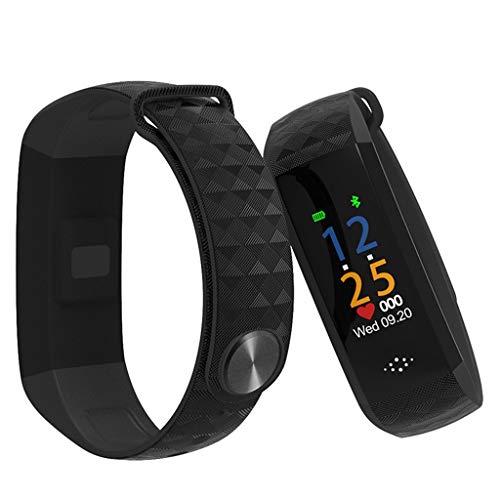 GLEMFOX Fitnesstracker met kleurenscherm, hartslagbewaking, horloge, activiteitentracker, IP67, waterdicht, slaapmonitor, GPS, stappenteller, voor kinderen en dames en heren, smartwatch zwart