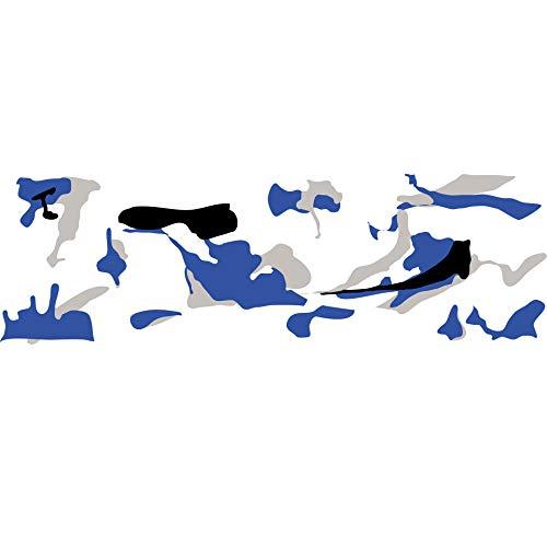 folimac 8,50€/m² Camouflage Autofolie Selbstklebend mit Luftkanäle Schwarz weiß Grau Blau #1404 (15 Meter x 152 cm)
