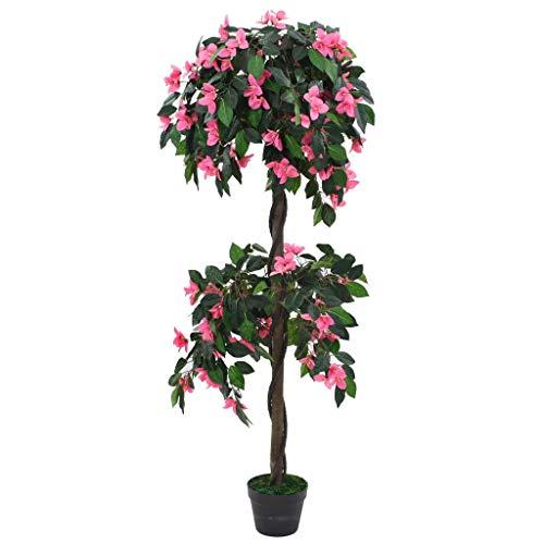 yorten Künstliche Rhododendron-Pflanze mit Topf Kunstpflanze Kunstbaum Höhe 155 cm Grün und Rosa