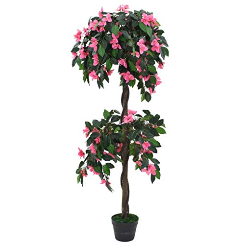 Tidyard Planta Artificial Azalea Decoración Hogar con Maceta 155 cm Verde y Rosa