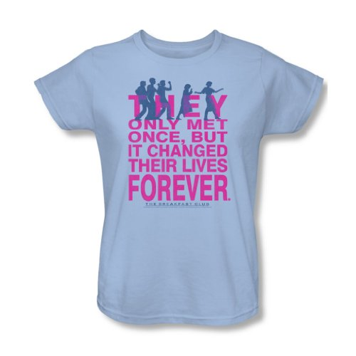 Women's Breakfast Club They Only Met Once Text T-shirt, Light Blue