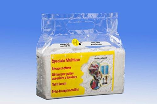 IMBALLAGGI 2000 - Stracci Pulizia Multiuso - 55x40 cm - Stracci Cotone Bianco Assorbente per Uso Domestico - Stracci Pavimento, Cucina, Bagno, per Spolverare - 18 Pezzi