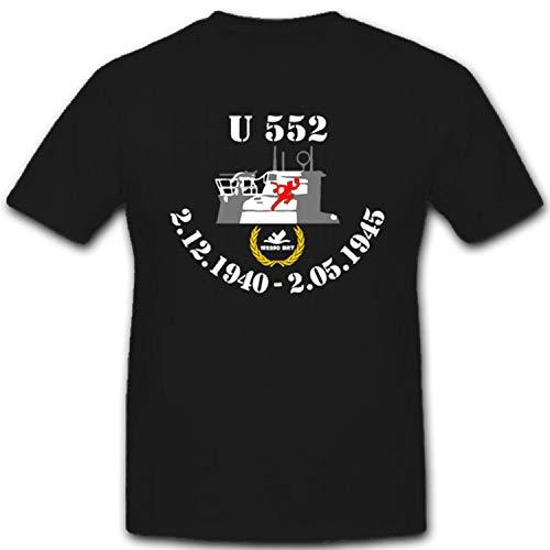 U 552 deutsches U-Boot vom Typ VII C Marine WK 2 Roter Teufel Kapitänleutnant Erich Topp - T Shirt #1753, Größe:L, Farbe:Schwarz