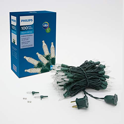 Philips 100 LED Warm White Indoor Outdoor Mini Christmas Lights, Green String