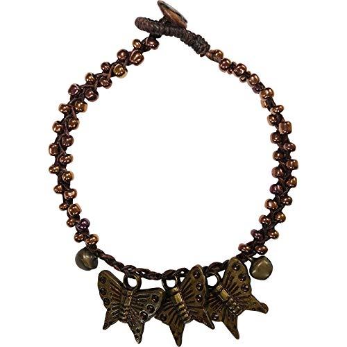 ELLU Butterfly Anklet Chain Ankle Foot Bracelet Womens Girls Ladies Pretty Jewellery