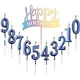 10 pezzi numero 0 – 9 compleanno cifra torta + 1 lettera Buon compleanno Glitter Cake Topper decorazione torta numero candele digitali per festa di compleanno matrimonio (blu)