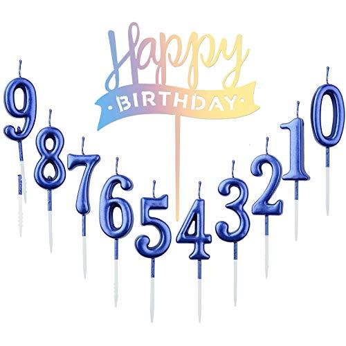 10 velas de cumpleaños número 0 – 9 con números para tarta + 1 pieza de carta para cumpleaños, decoración de tartas, número de velas digitales para fiesta de cumpleaños, boda (azul)