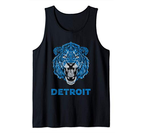Funny Vintage Lion Face Head Detroit Gifts Tank Top