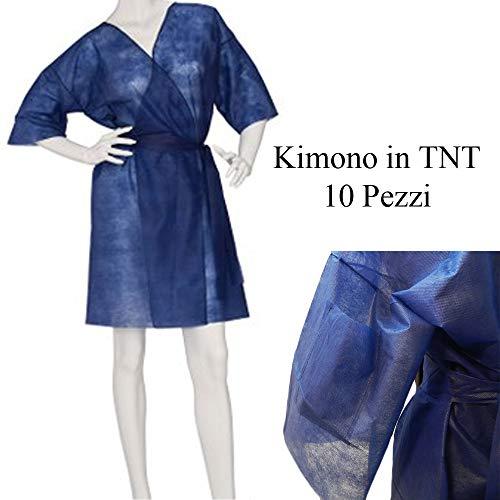 DOBO 10 Pezzi Kimono Blu monouso in TNT Camice estetica con tasta e Cinta USA e Getta per Parrucchiere Divisa Lavoro igiene Tessuto Non Tessuto confezionato singolarmente 10pz
