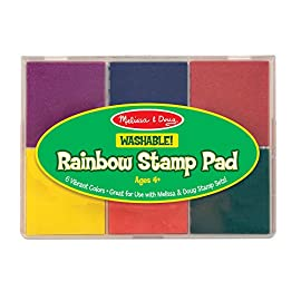 Melissa & Doug Rainbow Stamp Pad - 6 Washable Inks 2 MULTICOLORED STAMP INKPAD: The Melissa & Doug Rainbow Stamp Pad is designed for Melissa & Doug stamp sets. It includes 6 bright ink colors in primary and secondary hues. WASHABLE INK: This stamp pad color ink set is made from washable ink, which makes cleanup simple and efficient. ENCOURAGES SKILL DEVELOPMENT: Melissa & Doug's art supplies for stamp sets help kids develop multiple skills such as creative expression, basic storytelling, and fine-motor skills.