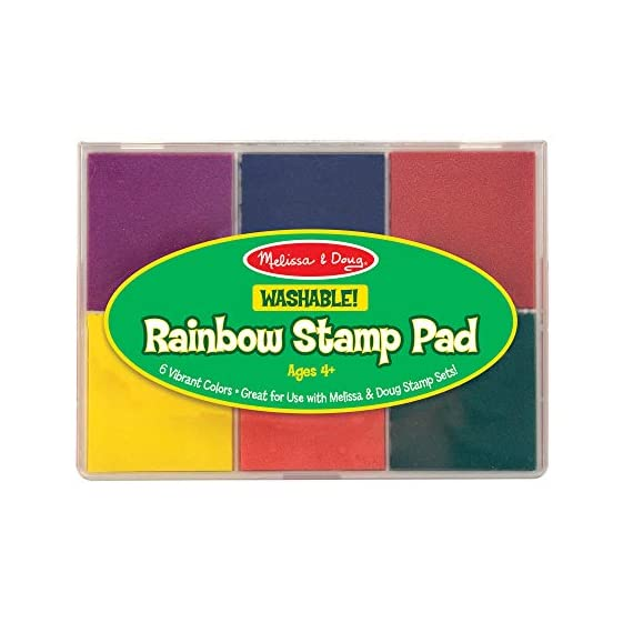 Melissa & Doug Rainbow Stamp Pad 1 MULTICOLORED STAMP INKPAD: The Melissa & Doug Rainbow Stamp Pad is designed for Melissa & Doug stamp sets. It includes 6 bright ink colors in primary and secondary hues. WASHABLE INK: This stamp pad color ink set is made from washable ink, which makes cleanup simple and efficient. ENCOURAGES SKILL DEVELOPMENT: Melissa & Doug's art supplies for stamp sets help kids develop multiple skills such as creative expression, basic storytelling, and fine-motor skills.