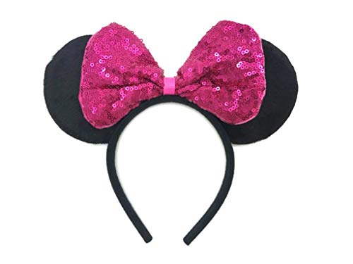 MeeTHan Sequin Hair Bows Headbands Mouse Ears for Baby Girls Women Costume Party: M8 (SQ-Pink2)