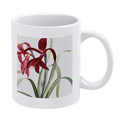 N\A Tazas de café Blanco de 11 oz, Taza de Chocolate de cerámica Vermeil Lily para Mujer, Jefe, Amigo, Empleado o cónyuge