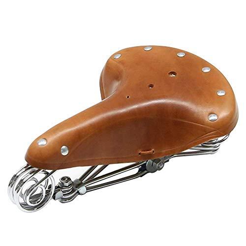 TentHome Fahrradsattel Vintage echtes Leder Classic Schraubenfeder Nieten Rennrad Fahrrad Sattel Braun Komfort Fahrradsitz (Braun)