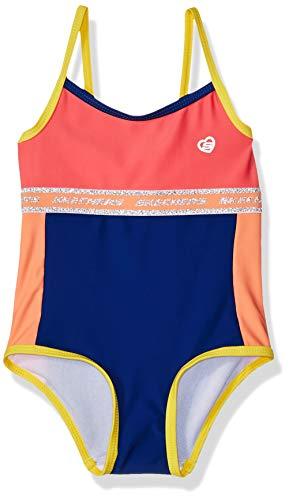 Skechers Girls' Baby 1-Piece Swim Suit Bathingsuit, Coral Color Block, 18 Months