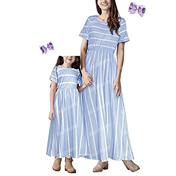 Mommy and Me Summer Short Sleeve Striped Family Matching Maxi Dresses Outfits with Pockets for Mother?s Day  3-4Years,Blue