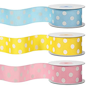 3 Rolls Polka Dot Ribbons 1.5   Grosgrain Dot Ribbons Wrapping Ribbon for Independence Day Halloween Christmas Easter Wedding Birthday DIY Party Decoration 10 Yards Each Roll  Pink Light Blue,