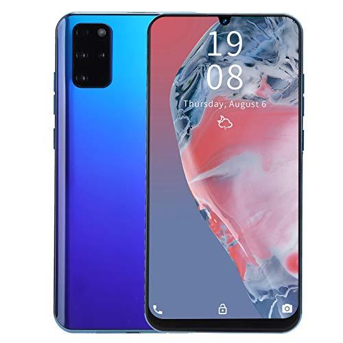 Junlucki 7.2 Pulgadas Teléfonos Celulares Desbloqueados   Reconocimiento Facial Desbloqueo de Huellas Dactilares Teléfono Inteligente, Tarjetas Duales Doble Modo de Espera, 1+16GB (Azul)