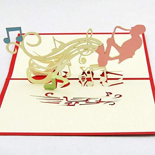 BC Worldwide Ltd handgemachte 3D-Pop-up-Grußkarte Musiker Saxophon, Geburtstag, Valentinstag, Hochzeitstag, Muttertag, Vatertag, Karte für Partner Freund