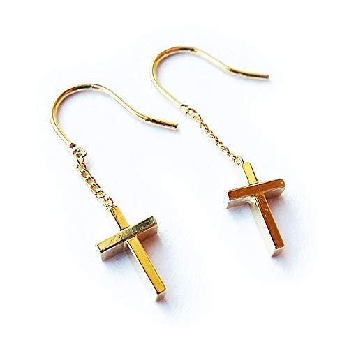 [メロディーアクセサリー] 日本製 クロス 十字架 フィッシャーピアス(FP-16) ゴールド色