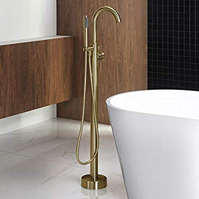 Woodbridge F0007 BG Freestanding Tub Filler Bathtub Floor Mount Brass Bathroom Faucets with Hand Shower, F-0007 Golden, Brushed Gold