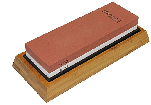 Whetstone - Two-sided Sharpening Stone - 1000/6000 Grit, Sharpen & Hone All-in-one - Includes Non-slip Bamboo Base – Professionally Crafted By Sagana Kitchenware - Sharpen Like a Pro!