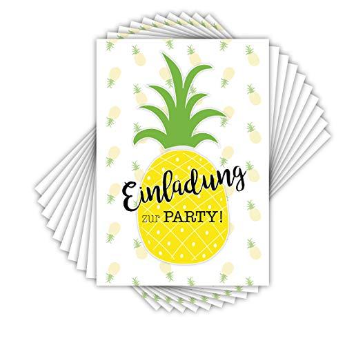 emufarm 10 EINLADUNGSKARTEN zum Kindergeburtstag Ananas / Poolparty Kindergeburtstag, Gartenparty, Sommerparty, Cocktailparty,