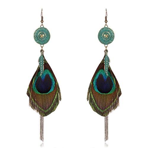 YAZILIND anzuelo aretes cadena borla colgante pavo real pluma hipoalergénicos ornamentos joyas mujeres regalo