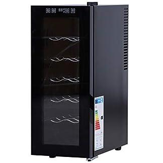 HOMCOM-Weinkuehlschrank-mit-6-Stufen-freistehender-Einzonen-Kuehlschrank-und-Weinschrank-12-Flaschen-11-18-C-digitaler-Temperaturanzeige-Gehaertetes-Glas-26-x-495-x-65-cm