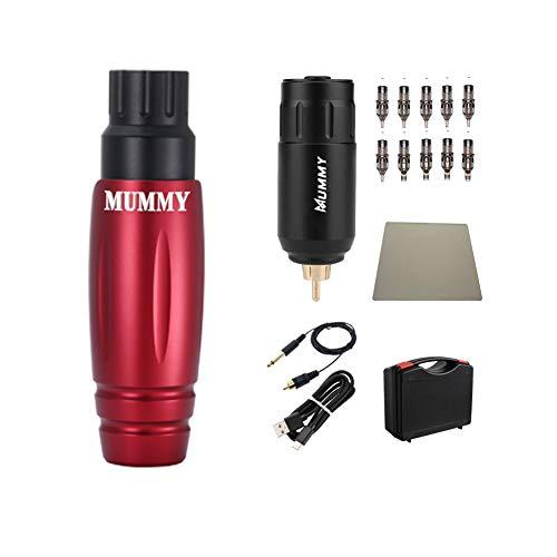 Mummy Complete Rotary Tattoo Pen Machine Kit with 10pcs Cartridge Tattoo Needle Wireless Power Supply (red)