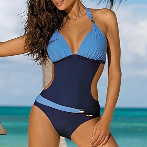 UXZDX. Einteiliger Badeanzug Strandkleidung Sexy Patchwork Badeanzug für Frauen plus Badebekleidung Bikini Frauenkleidung (Color : Blue, Size : Large code)