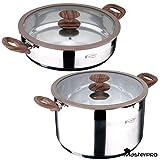 MasterPro Batería de Cocina 4 Piezas: ollas ø28x7 y ø20x14 cm. con Tapa de Vidrio