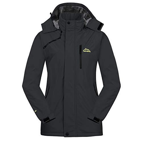Cycorld Damen Skijacke Winter Outdoor Jacke, Wasserdicht Winddicht Warm Fleece Innen Kapuzenmantel (Schwarz, S/cm (Büste:113-116))