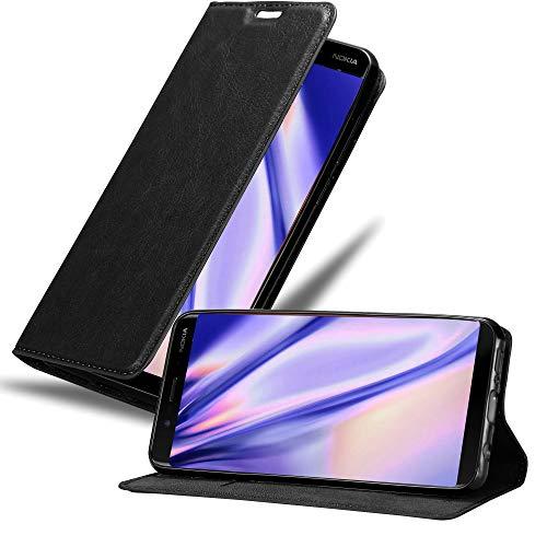 Cadorabo Hülle für Nokia 8 Sirocco in Nacht SCHWARZ - Handyhülle mit Magnetverschluss, Standfunktion & Kartenfach - Hülle Cover Schutzhülle Etui Tasche Book Klapp Style