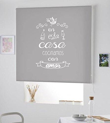 Estor Cocina Ventana- Cortina ESTORES Enrollable para Cocina con Frase- Cortina Modelo COCINAMOS con Amor (Gris, 160X175)