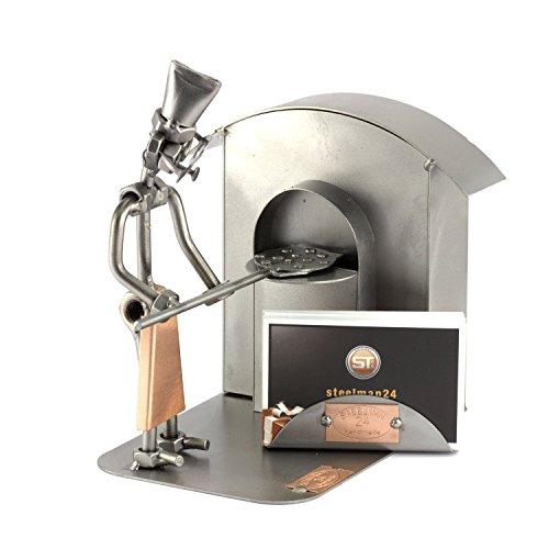 Steelman24 I Omini di Viti Pizzaiolo con Portabiglietti da Visita I Idee Regalo Originale I Soprammobili in Metallo I Modellino