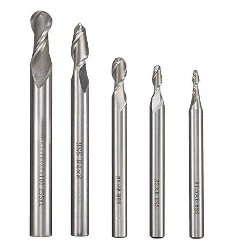 Frese a candela, R2 / R3 / R4 / R5 fresa strumento di bit R2-5 codolo 2 Flute End Mills (Size (US) : 5)
